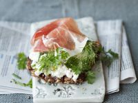 Cottage Cheese, Prosciutto and Herb Tartines recipe