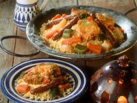 Coucous with Chicken, Lamb and Vegetables recipe