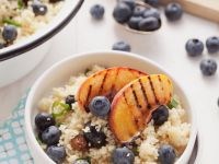 Couscous Salad, Blueberries and Grilled Peaches recipe