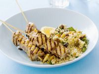Couscous with Fish Skewers recipe