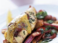 Cranberry Chicken with Caramelized Red Peppers and Rhubarb recipe