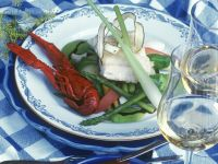 Crayfish and Cod with Asparagus in White Wine Broth recipe