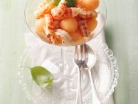 Crayfish and Melon Salad with Basil Granita recipe