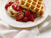 Cream Filled Waffles with Raspberries and Strawberries recipe