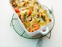 Creamy Baked Ravioli with Tomatoes, Mushrooms and Ham recipe