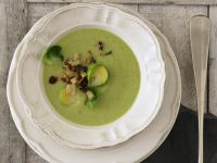 Creamy Brussels Sprouts Soup with Bacon Croutons recipe