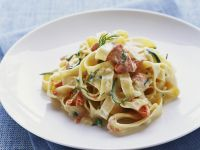 Creamy Fettuccine with Smoked Trout and Zucchini recipe