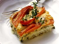 Creamy Fish Casserole with Roasted Bell Peppers recipe