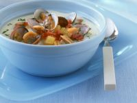 Creamy Fish Soup with Potatoes and Clams recipe
