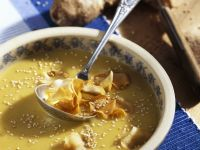 Creamy Jerusalem Artichoke Soup with Sesame Seeds and Artichoke Chips recipe