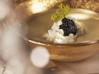 Creamy Lentil Soup with Whipped Cream and Black Caviar recipe
