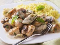 Creamy Mushroom and Chicken with Rice recipe