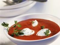 Creamy Pepper Soup with Soft Cheese Dumplings recipe