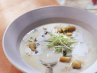 Creamy Potato Soup with Herb Croutons recipe