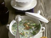 Creamy Soup with Smoked Trout, Leek, Dill and Chervil recipe