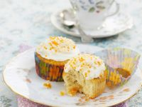 Creamy Topped Coconut Apricot Cupcakes recipe