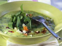Creamy Vegetable Soup with Pumpkin Seed Oil and Wild Garlic recipe