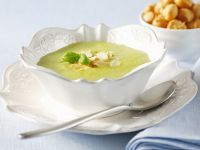 Creamy Zucchini Soup with Sliced Almonds and Basil recipe