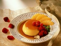 Sweet Flan Pudding with Fruit recipe