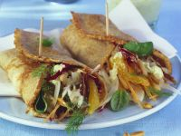 Crepes Filled with Cream Cheese, Oranges, Radicchio and Fennel recipe