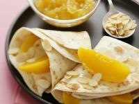 Crepes with Peach and Almonds recipe