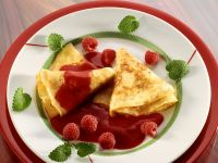 Crepes with Raspberry Sauce recipe