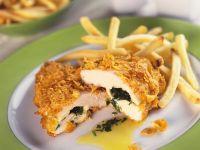Crispy Cornflake-Crusted Chicken Stuffed with Arugula recipe