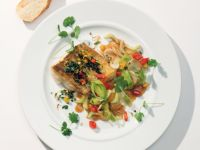 Crispy Perch Fillet on Asian Vegetables recipe