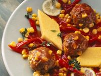 Crispy Polenta with Meatballs and Vegetable Sauce recipe