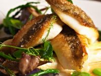 Crispy White Fish with Purple Potatoes recipe
