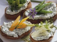 Crostini with Herb Spread and Blanched Vegetables recipe