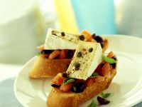 Crostini with Tomato, Olives and Brie recipe