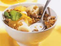 Crunchy Granola with Kefir, Orange and Banana recipe