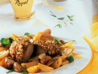 Crusted Lamb with Mushrooms and Potatoes recipe