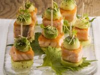 Cucumber and Salmon Appetizers with Avocado recipe