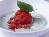 Cucumber Soup with Tomato Sorbet recipe