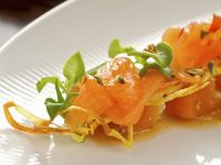 Cured Salmon Trout with Pumpkin Chutney and Crispy Onion Rings recipe