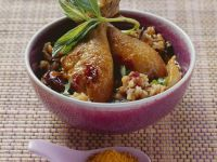 Curried Chicken Drumsticks with Fruit recipe