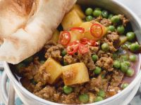 Curried Ground Meat and Peas with Flatbread recipe