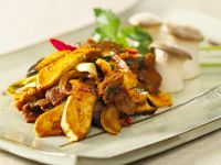 Curried Steak with King Oyster Mushrooms recipe