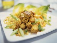 Curried Tofu with Couscous and Scallions recipe