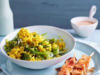 Curried Tofu with Millet and Snow Peas recipe