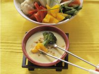 Curried Vegetable Tempura Fondue recipe