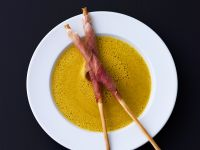 Curried Zucchini Soup with Prosciutto-Wrapped Grissini recipe