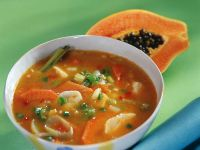 Curry Soup with Papaya, Ginger and Fish recipe
