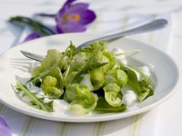 Dandelion and Wild Garlic Salad with Sautéed Brussels Sprouts recipe