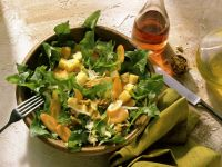 Dandelion Salad with Cheese, Carrots and Walnuts recipe