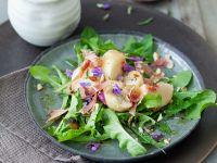 Dandelion Salad with Peach and Prosciutto recipe