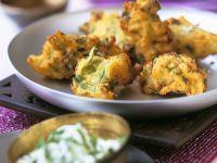 Deep-Fried Battered Potatoes (Pakoras) with Yogurt Dip recipe