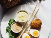 Deep-fried Eggs with Curry Sauce and Pineapple Sauce recipe